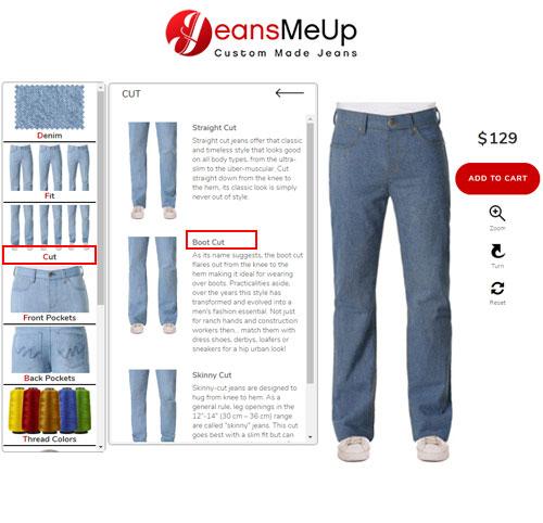 Mens bell bottom jeans configurator