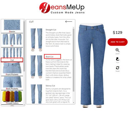 Womens bell bottom jeans configurator